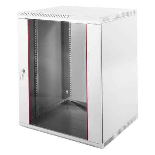лучшая цена Шкаф коммутационный ЦМО (ШРН-Э-12.650) 12U 600x650мм пер.дв.стекл несъемн.бок.пан. серый