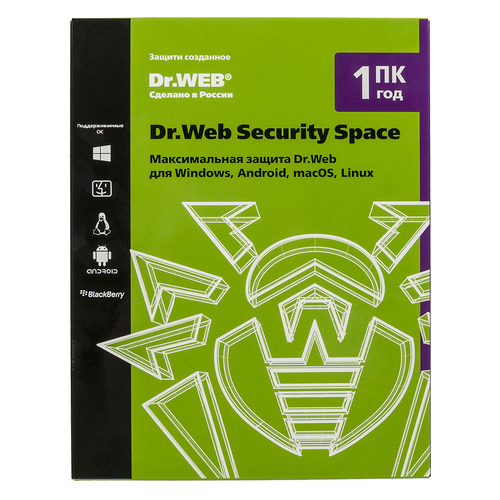 ПО DR.Web Security Space 1 ПК 1 год Base Box (BHW-B-12M-1-A3) по dr web security space трешка 3 пк 12 месяцев ahw b 12m 3 a3