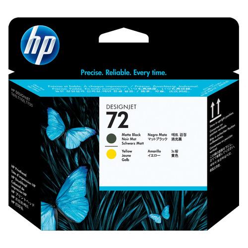 Печатающая головка HP 72 C9384A черный матовый/желтый для HP DJ T1100/T610/T1120/T1200/T1118 картридж hp 72 c9384a для hp dj t1100 t610 черный матовый желтый