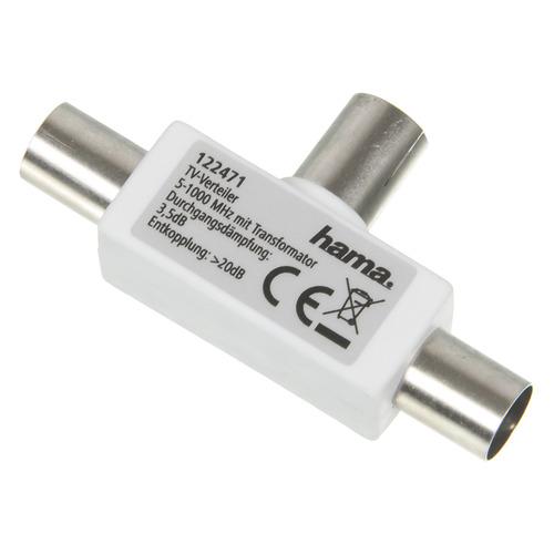 Фото - Сплиттер антенный HAMA 00122471, Coax (f) - Coax (m) , Coax (m), белый кабель антенный hama h 11900 coax m coax f 1 5м белый [00011900]