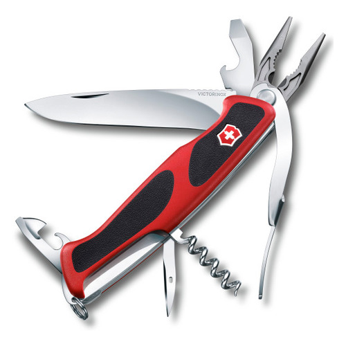 Складной нож VICTORINOX RangerGrip 74, 14 функций, 130мм, красный / черный цена
