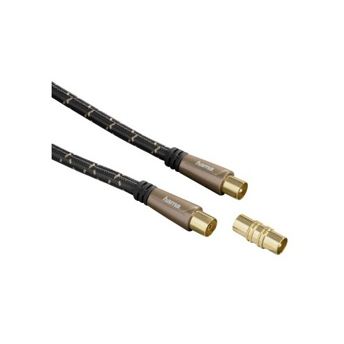 Кабель антенный HAMA Coax (m) - Coax (f) , 3м, GOLD черный [00122426] promotion 5pcs coaxial coax rf adapter connectors tv pal male plug to f female m f