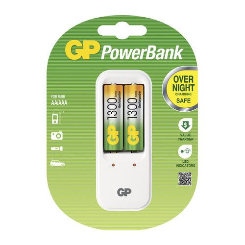 цена на AA Аккумулятор + зарядное устройство GP PowerBank PB410GS130, 2 шт. 1300мAч