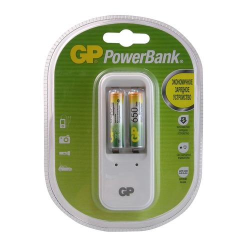 AAA Аккумулятор + зарядное устройство GP PowerBank PB410GS65, 2 шт. 650мAч  - купить со скидкой