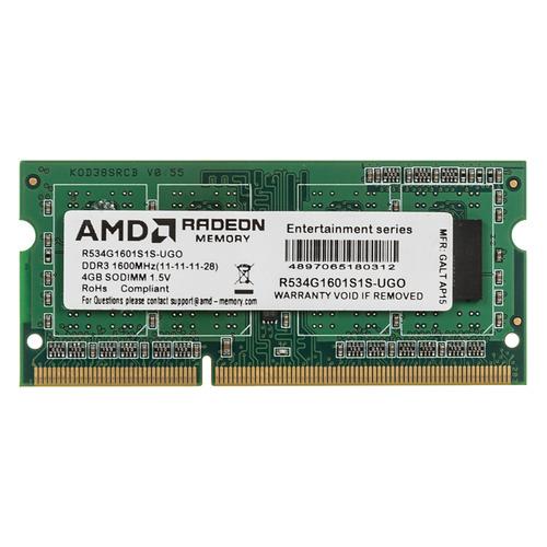 Модуль памяти AMD R534G1601S1S-UGO DDR3 - 4Гб 1600, SO-DIMM, OEM все цены