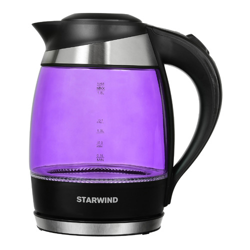Чайник электрический STARWIND SKG2217, 2200Вт, фиолетовый и черный чайник электрический starwind skg2217 2200вт фиолетовый и черный