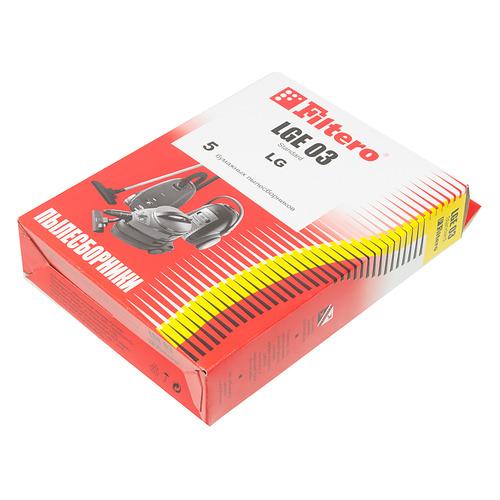 Пылесборники FILTERO LGE 03 Standard, двухслойные, 5 шт., для пылесосов LG пылесборники filtero lge 01 эконом бумажные 4пылесбор