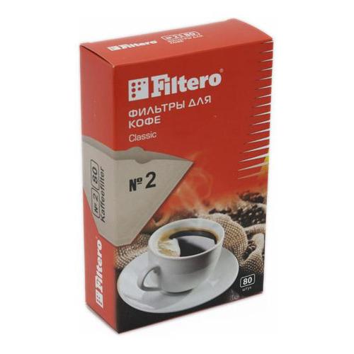 Фильтры для кофе FILTERO №2, для кофеварок капельного типа, бумажные, 80 шт, коричневый [№2/80] фильтры для кофе для кофеварок капельного типа filtero 2 белый упак 40шт