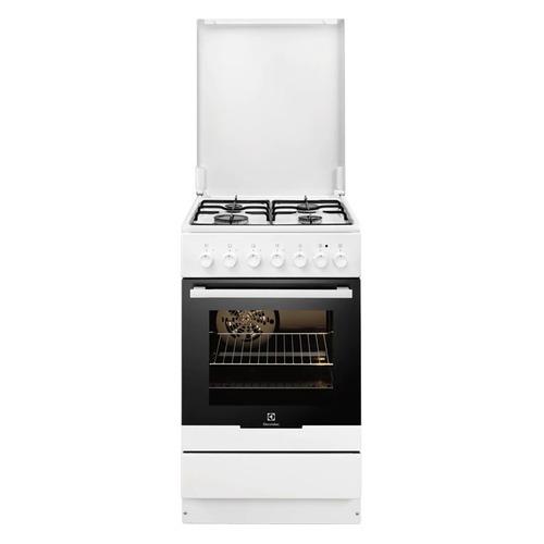 Газовая плита ELECTROLUX EKK951301W, электрическая духовка, белый цена и фото