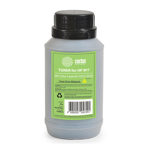 Тонер CACTUS CS-THP8Y-70, для HP CLJ 2025/2320, желтый, 70грамм, флакон tph 1215 2c laser toner powder for hp cp 1215 1515 1518 2020 2025 cm 2320 1312 1300 bkcmy 1kg bag color