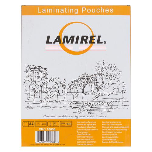 Пленка для ламинирования FELLOWES Lamirel, 75мкм, 216х303 мм, 100шт., глянцевая, A4 обложка для переплетов fellowes lamirel a4 250г м2 красный 100шт la 7868601
