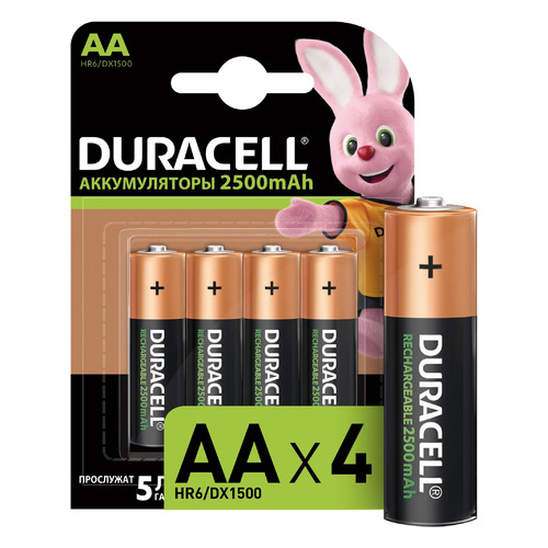 цена на AA Аккумулятор DURACELL Rechargeable HR6-4BL, 4 шт. 2500мAч