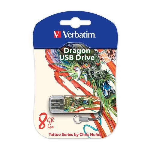 Фото - Флешка USB VERBATIM Store n Go Mini Tattoo Dragon 8Гб, USB2.0, белый и узор [49884] детский свитшот унисекс printio узор листьев