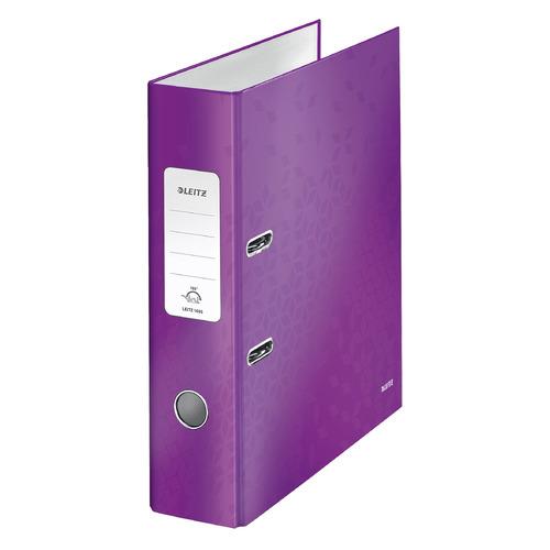 цена на Папка-регистратор Esselte Leitz WOW 10050062 A4 80мм фиолетовый металлик