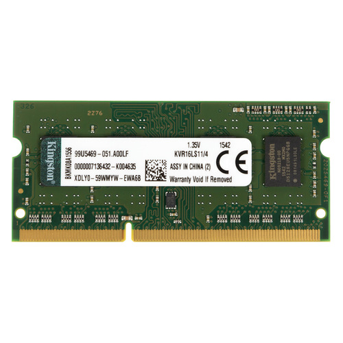Модуль памяти KINGSTON VALUERAM KVR16LS11/4 DDR3L - 4Гб 1600, SO-DIMM, Ret dimm ddr3l 4гб qumo