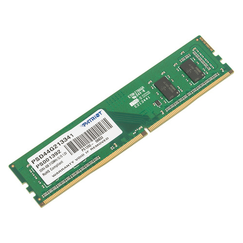 Модуль памяти PATRIOT Signature PSD44G213341 DDR4 - 4Гб 2133, DIMM, Ret модуль памяти patriot psd44g213381s ddr4 4гб 2133 so dimm ret