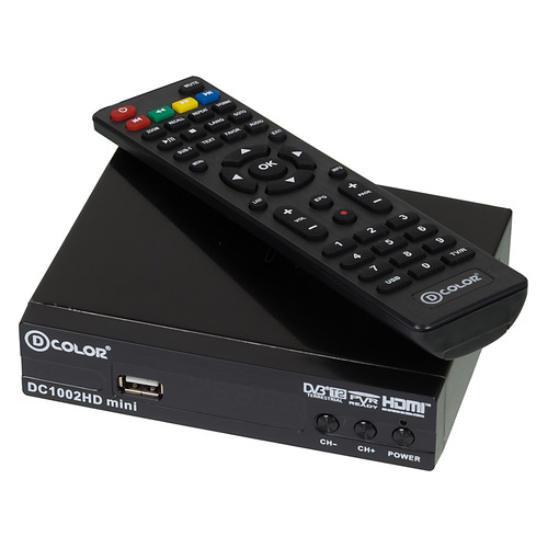 Ресивер DVB-T2 D-COLOR DC1002HD mini, черный ресивер dvb t2 d color dc902hd