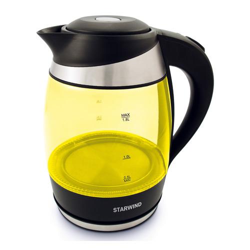 Чайник электрический STARWIND SKG2215, 2200Вт, желтый и черный чайник электрический starwind skg2217 2200вт фиолетовый и черный