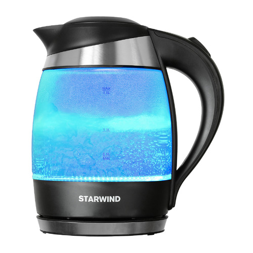 Чайник электрический STARWIND SKG2218, 2200Вт, голубой и черный чайник электрический starwind skg2217 2200вт фиолетовый и черный